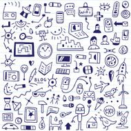 web social media devices - doodles set