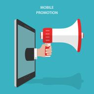 Mobile Promotion Flat Isometric Vector Concept