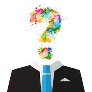 Man in Suit with Colorful Splashes Question Mark