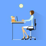 Business Woman Sitting At Desk In Office Working Laptop