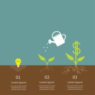 Idea bulb watering can dollar plant infographic Financial growth Flat