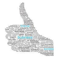 Thumbs up sign made from business-related words