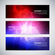 Red blue colored Geometric lowpoly abstract modern vector banners set with polygonal background