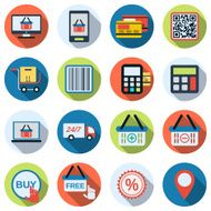 Online shopping flat vector icons