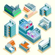 Set of vector several isometric buildings with isolated background