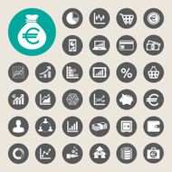 business and finance icon set euro