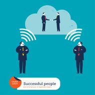 Businessmen thinking wireless with a cloud