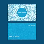 Vector abstract swirls vertical round frame pattern business cards set blue background