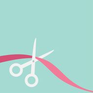 Scissors cut ribbon on the left Flat design style