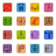 Human Resources Icon Set wth different people
