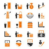 Business Icon Set black orange