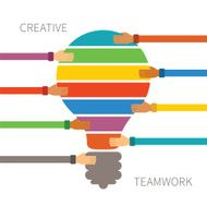 Vector concept of creative teamwork long heands
