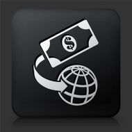 Black Square Button with Global Money Icon