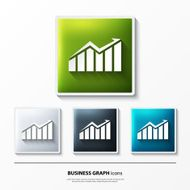 Vector set of glossy icons on button with business graph