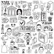 Business and banking hand drawn doodle illustrations vector set