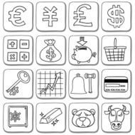 Doodle finance icon set in black and white