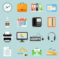 Icons of business office equipment and stationery