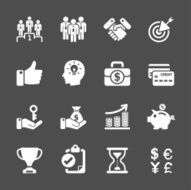 business management and human resources icon set vector eps10