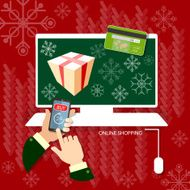 Christmas shopping hands using smart phone online