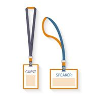 Template flat design icons of lanyard and badge