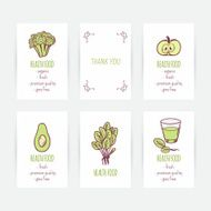 Set of business card templates with hand drawn vegetables