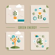 flat design vector icons for green energy
