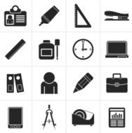 Black Business and office objects icons
