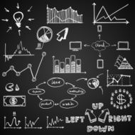 business finance doodle hand drawn elements on blackboard Concept -