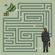 Businessman lost in maze with financial problems