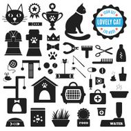 Great set of icons about Lovely Cat Vector illustration for