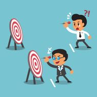 Business concept different target range between business boss and businessman