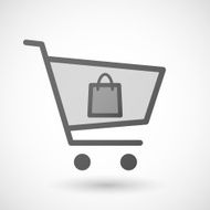Shopping cart icon with a shopping bag