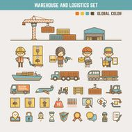 warehouse and logistics infographic elements