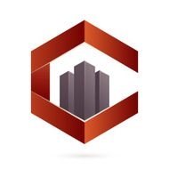 Real estate icon and C letter hexagon icon