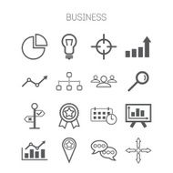 Set of simple isolated business icons