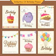 Collection of stylish birthday invitation cards
