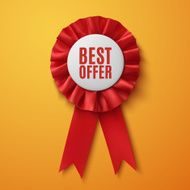 Best offer realistic red fabric award ribbon