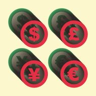 Vector dollar euro yen and pound icons Signs set