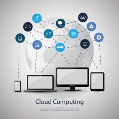 Cloud Computing Concept grey background