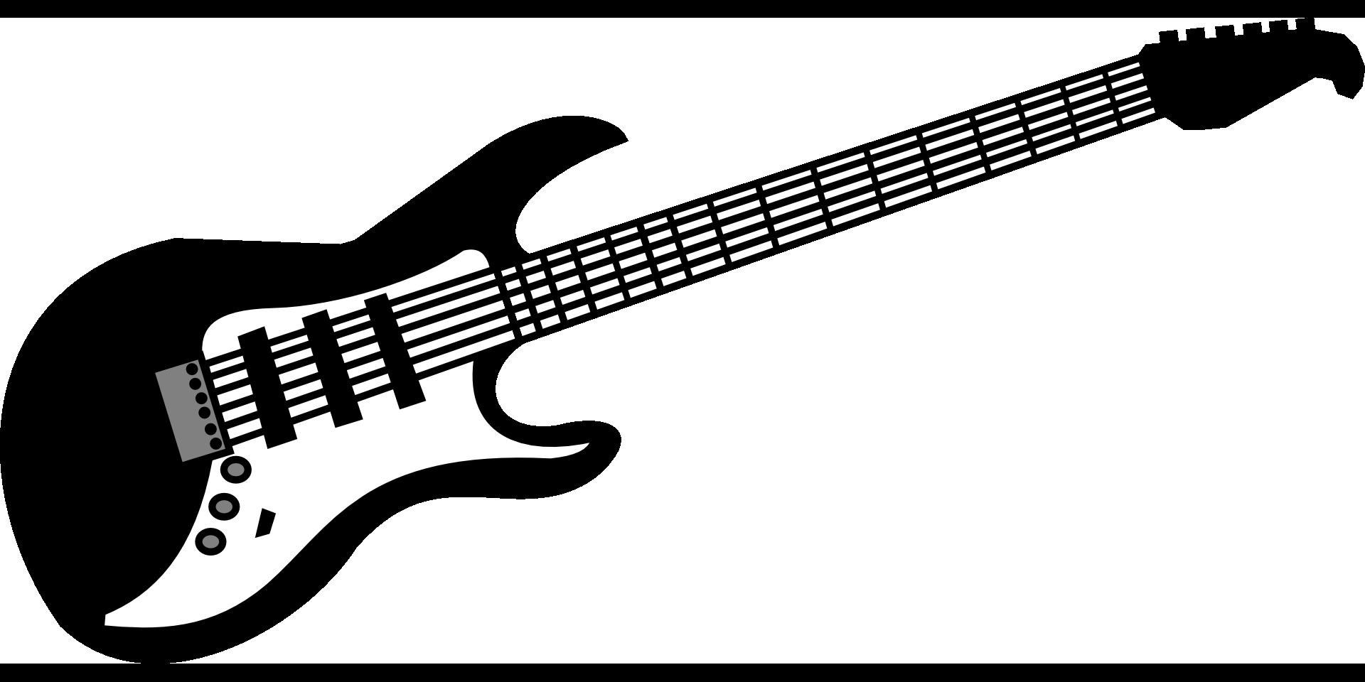 Guitar Electric Music Rock Instrument Black White Drawing