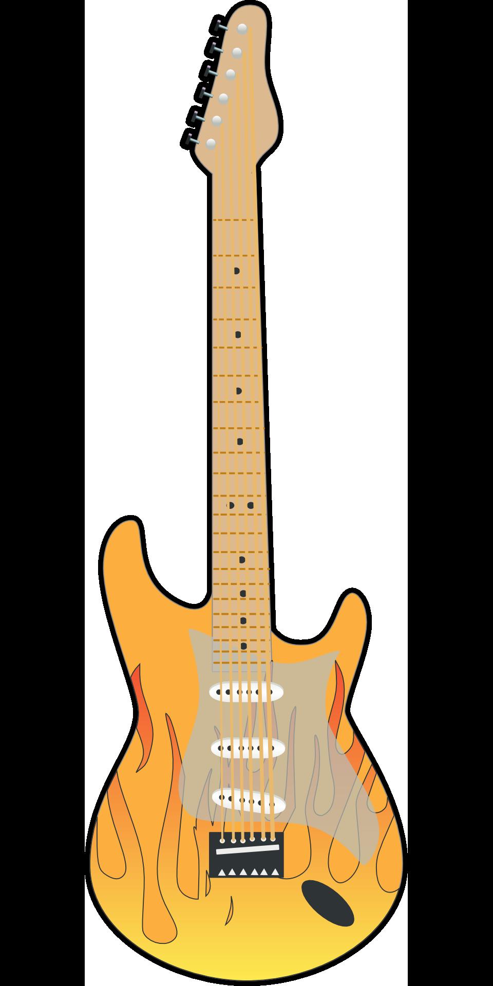 Rock Guitar Yellow Brown Musical Instrument Drawing
