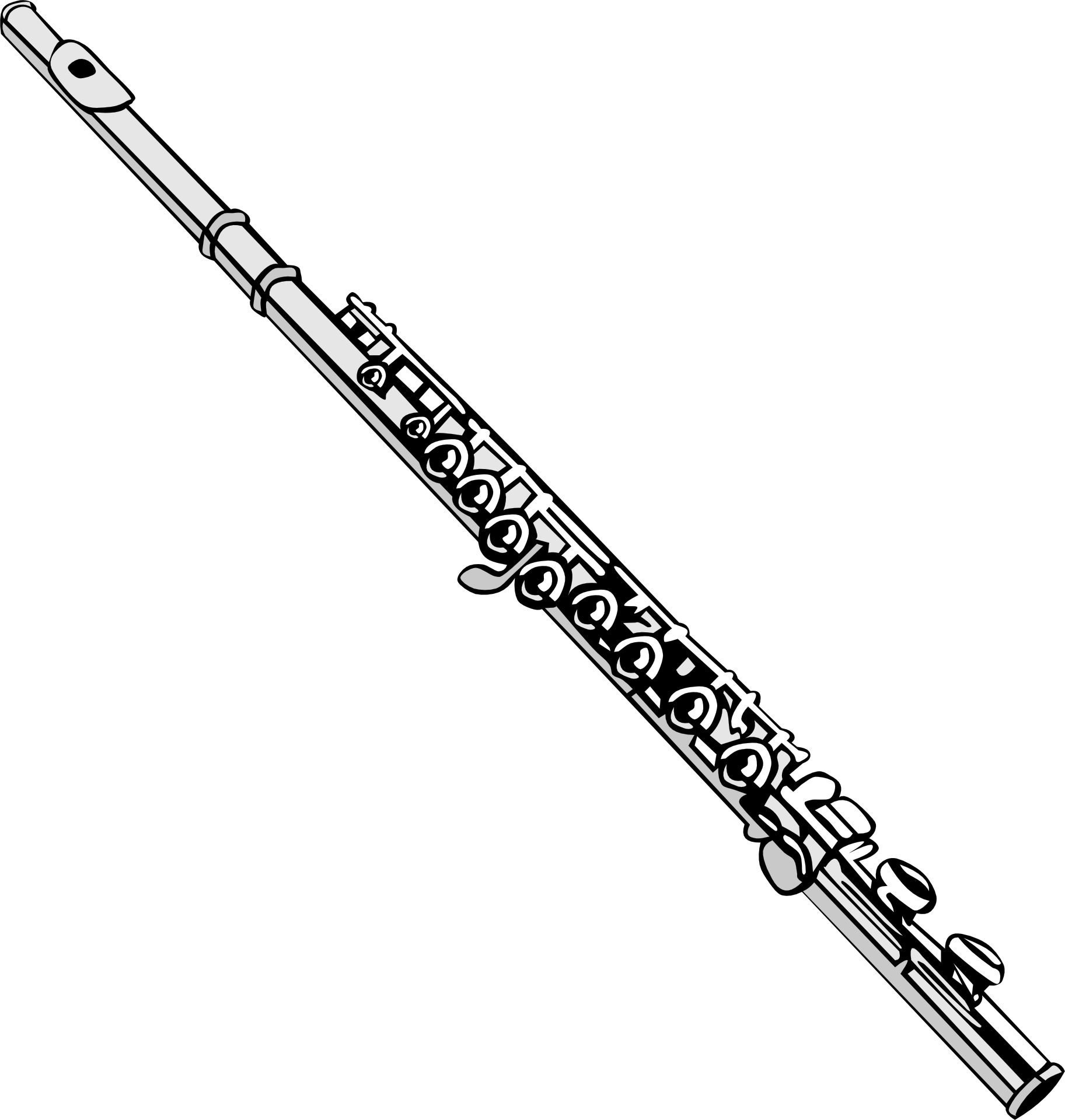 flute clipart black and white - HD1825×1920
