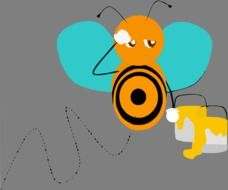 drawing of sad honeybee with blue wings