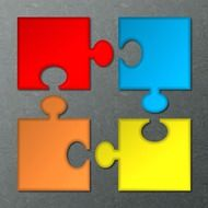 four multi-colored puzzles