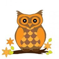 orange owl bird drawing