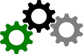 three multi-colored gears as a graphic image
