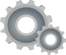 drawn two gray round gears on a white background
