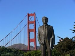 monument in front of golden gate bridge in san francisco