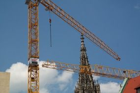 two construction crane in Ulm