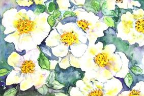 painting in the form of white flowers